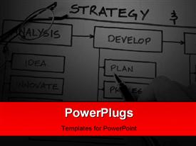 PowerPoint template displaying business Strategy Organizational & Planning charts in dark