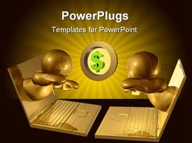 PowerPoint template displaying gold icons come out from computer screen to celebrate his internet online business success