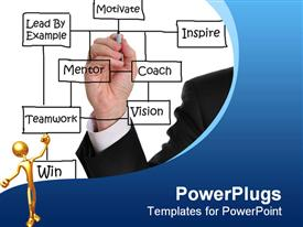 PowerPoint template displaying male executive writing motivation concept on a white board in the background.