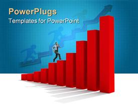 PowerPoint template displaying man moving up on graph chart business growth success finances