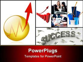 PowerPoint template displaying press the Button to get a Boost to Your Success! Glassy Golden Button with punching out Chart in the background.
