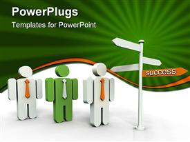 PowerPoint template displaying three green and white human characters standing in front of a signpost