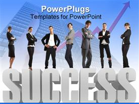 PowerPoint template displaying group of business people standing on 3D gray success word with rising arrow and business building fading in the background