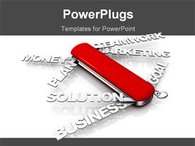 PowerPoint template displaying a red Swiss knife with different business related texts