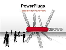 PowerPoint template displaying conceptual depiction using words with a Swiss army knife metaphor in the background.