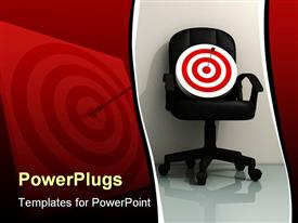 PowerPoint template displaying black office chair holding a dart board with a dart