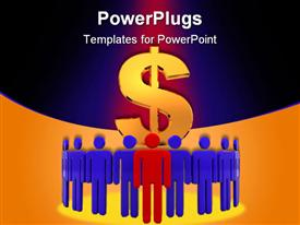 PowerPoint template displaying large dollar symbol behind blue and red business team