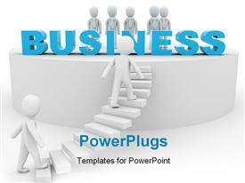 PowerPoint template displaying depiction of 3D me climbing stairway to join others on business platform