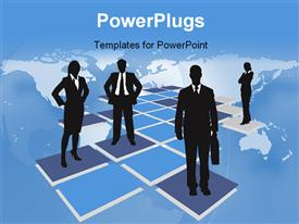 PowerPoint template displaying four business standing on purple tiles with a map