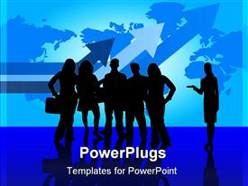 PowerPoint template displaying lots of business people having a meeting on a blue map background