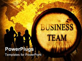 PowerPoint template displaying business team on a grunge background with a magnifier in the background.