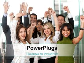 PowerPoint template displaying business team in an office full of success looking happy in the background.