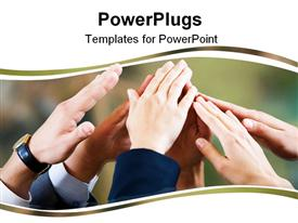 PowerPoint template displaying unity metaphor with human hands touching