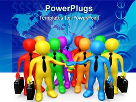 PowerPoint template displaying computer Generated Depiction - Business Team in the background.