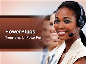 PowerPoint template displaying four business people wearing headphones smiling and staring with a blurry background