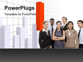 PowerPoint template displaying interracial business team with high orange bar in graph
