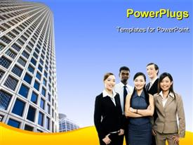 PowerPoint template displaying lots of business men and women smiling in front of a sky scrapper