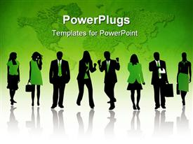 PowerPoint template displaying people silhouettes and shadow green