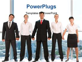 PowerPoint template displaying smart business group standing in row and looking at camera with smiles