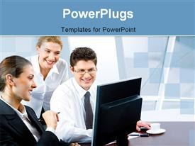 PowerPoint template displaying business team of three with coffee and laptop on desk in office building