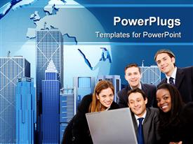 PowerPoint template displaying business personnel's smiling with tall office buildings behind