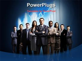PowerPoint template displaying business team formed of young businessmen standing over a dark background