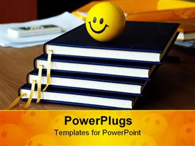 Four planners in column and smiley ball on office desk powerpoint theme