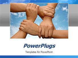 PowerPoint template displaying various hands holding each other to show solidarity with clouds in the background