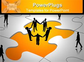 Business people in puzzle world template for powerpoint