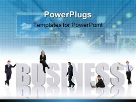 PowerPoint template displaying five humans sitting and standing on a large business text