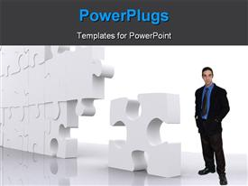 PowerPoint template displaying puzzle for business teamwork made in 3D over a white background
