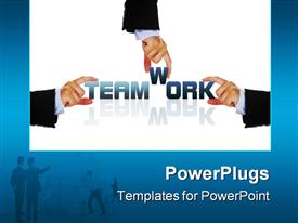 PowerPoint template displaying teamwork business concept in the background.