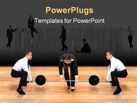 PowerPoint template displaying teamwork business power - two guys helping a female business woman lifting weights