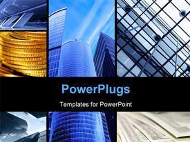PowerPoint template displaying collage of large architectural structures with skyscrapers rising to the sky