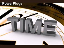 PowerPoint template displaying rushing figure silhouette on clock face rolling across Time