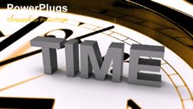 PowerPoint template displaying rushing figure silhouette on clock face rolling across Time - widescreen format
