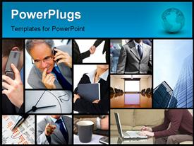 PowerPoint template displaying lots of tiles with business people making calls and working