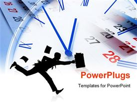 PowerPoint template displaying composite of Clock and Calendar Pages Close Up in the background.