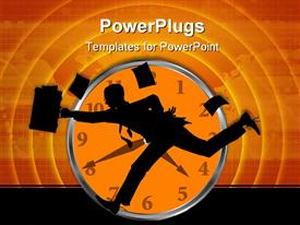 Graphic depicting business person running clock in background powerpoint theme