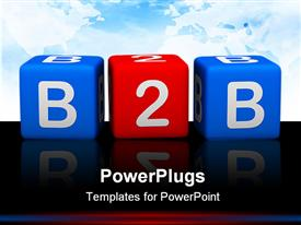 PowerPoint template displaying blue and red kids learning blocks with text B2B