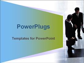 PowerPoint template displaying two business men with brief cases having a discussion