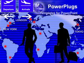 PowerPoint template displaying businessman silhouette on a world map as symbol of business travel