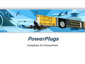 PowerPoint template displaying great choice for presentations on airplanes, air lines, aircraft operations, air transport service