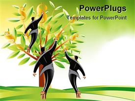 PowerPoint template displaying three men picking dollar signs from tree