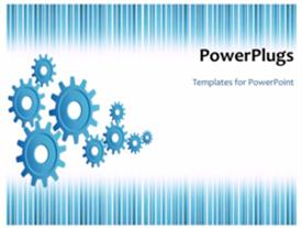 PowerPoint template displaying business wheels are running over the white background as a metaphor of industrial development