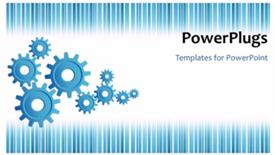 PowerPoint template displaying video of moving blue gears on blue and white striped background