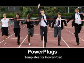 PowerPoint template displaying business people cross the finish line in race