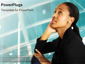 PowerPoint template displaying african business woman sits thoughtfully