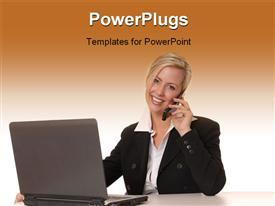 PowerPoint template displaying a girl on the phone with a laptop