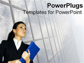 PowerPoint template displaying business woman looks upwards